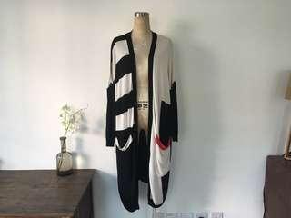 H&M Art Deco geometrical block asymmetrical long cardigan vintage 秋長外套復古cos &other stories moschino