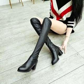 knee length PU leather boots
