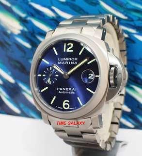 Preowned Rare Model. Panerai Luminor Marina Automatic 40mm Titanium Bracelet Blue Dial  Watch. Model PAM00283