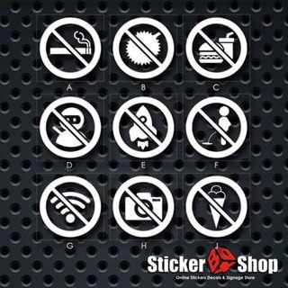 Prohibited Sign Decal (Choose Any 4)