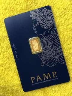 PAMP - 999 Gold - 1-g Bar ❤️❤️💛💛💙💙💚💚