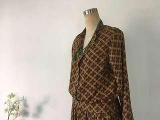 Vintage style long sleeves shirt dress gucci style pattern 芥黃復古圖案連身襯衫長裙