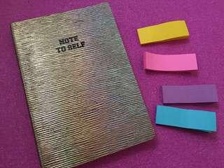 Note to self Notebook w/ Color Post It Pad