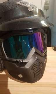 Helmet with goggle mask