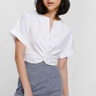 Love Bonito Talgot Knotted Crop Top (White)