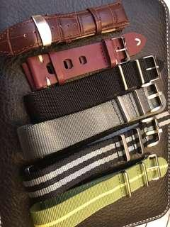 Bundle of leather and nato watch straps