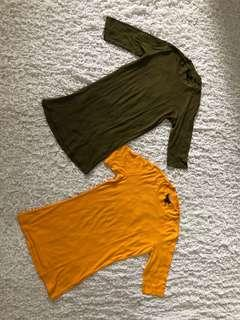 Pre loved 2 set Topshop ribbed shirt Green and yellow XS