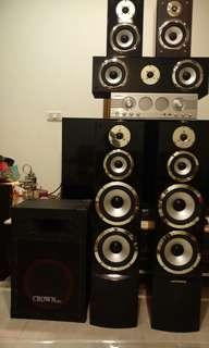 🚚 King Crown amplifier and speakers set subwoffer 擴大機音響喇叭卡拉ok組合