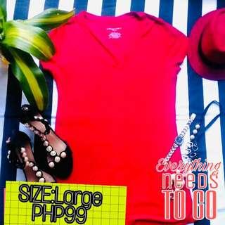 Fitted Vneck Red Tee