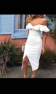 White sexy off shoulder dress