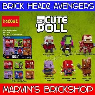 Latest DECOOL Super Hero AVENGERS BrickHeadz 6in1 Building Blocks Toys