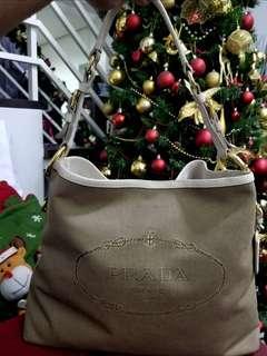 Authentic Prada Jacquard Large Shoulder Bag