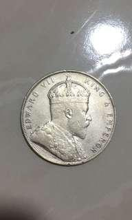 1908 $1 Straits Settlements coins