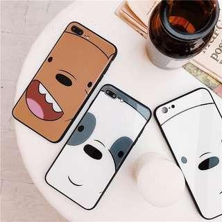 We bare bears tempered glass phone case