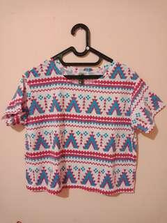 Tribal Print Crop Top / Crop Tee