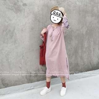 🚚 正韓莓果色刺繡洋裝 連衣裙