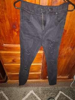 Hight waist ripped black Jean