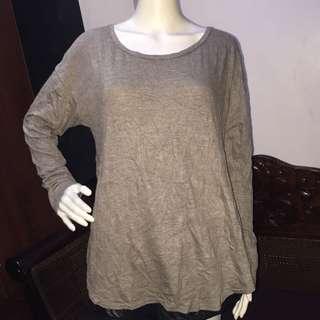 XHILARATION plain brown longsleeve blouse medium