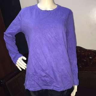 GREAT NORTHWEST plain lavender longsleeve blouse large