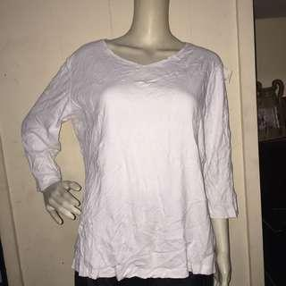 CHRISTOPHER&BANKS plain white longsleeve blouse large