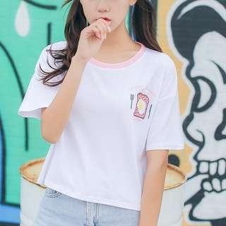 韓系短袖上衣!短袖T恤撞色圓領新款學生休閒卡通刺繡上衣女生衣著韓國出清寬鬆顯瘦閨蜜裝可愛正韓特價韓妞