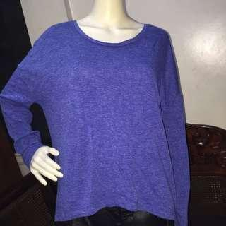OLD NAVY plain blue longsleeve blouse large