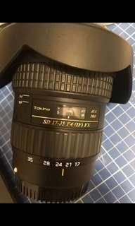 Tokina At-X Pro 17-35mm F4 Pro Fx Canon mount