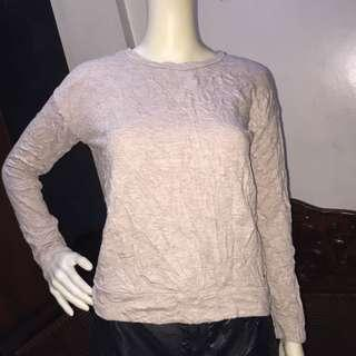 AMERICAN EAGLE OUTFITTER plain brown longsleeve blouse with backless design