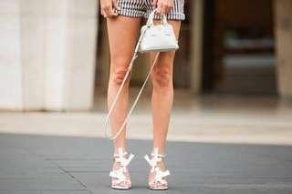 Acne Studios Dalia White Heels 38 Patent & Calfskin Flower Stiletto Sandals