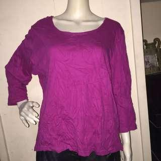 NO BRAND plain violet longsleeve blouse large