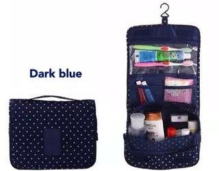 Travel Toiletry Organizer Pouch Bag (Navy Blue with Polka Dots)
