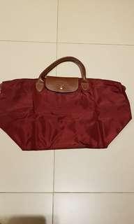 authentic Longchamp Tote Bag dark maroon
