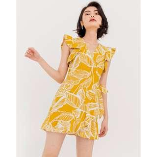 Modparade Amelie Floral Wrap Dress in Marigold