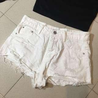 White Mid Waist Shorts