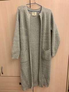 二手pazzo灰色長版針織外套