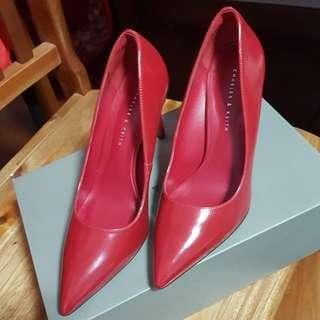 Charles and Keith Red Pump heels