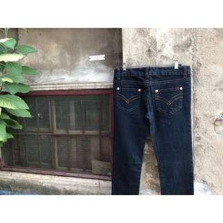🚚 復古深藍小直筒牛仔長褲