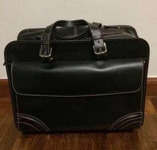 AUTHENTIC BRAMBLE & Brown LEATHER Laptop Trolley Bag on Wheel from England