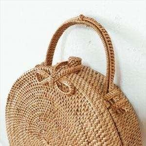 Round Rattan Bag with Holder