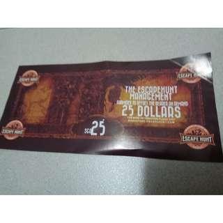 The EscapeHunt $25 Voucher ( free postage.)