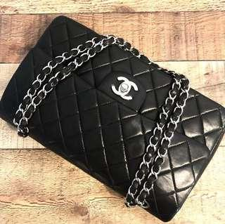 Authentic Chanel Classic Flap with Silver Hardware