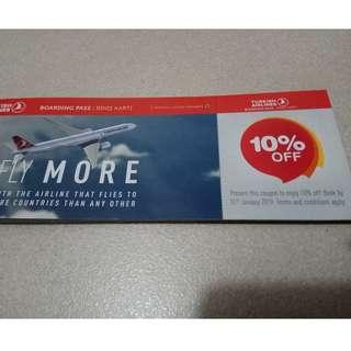 Turkish Airlines 10% off (free postage)