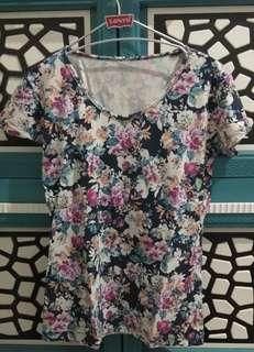Tshirt Bunga2 Bahan Melar