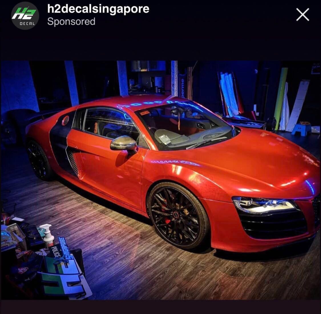 Audi R8 V10 Teckwrap Red Chrome, Car Accessories