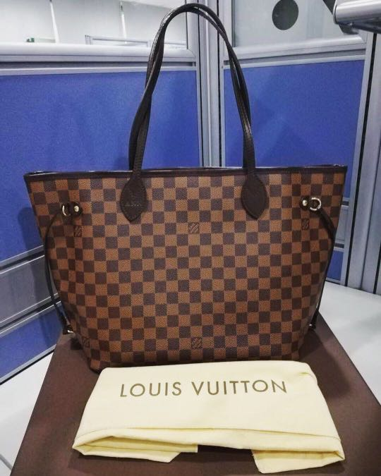 f80f7b2185ae Authentic Louis Vuitton Neverfull Damier ebene mm