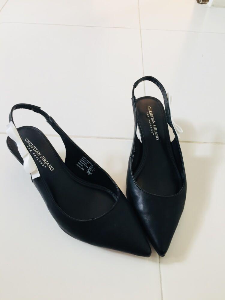 b22db72a820 Black low heels slingbacks shoes