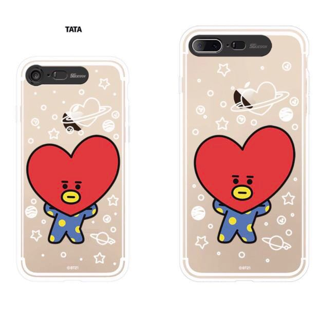 wholesale dealer e9398 2425d BTS BT21 TATA Light Up Soft Clear iPhone 7/8 Plus Case