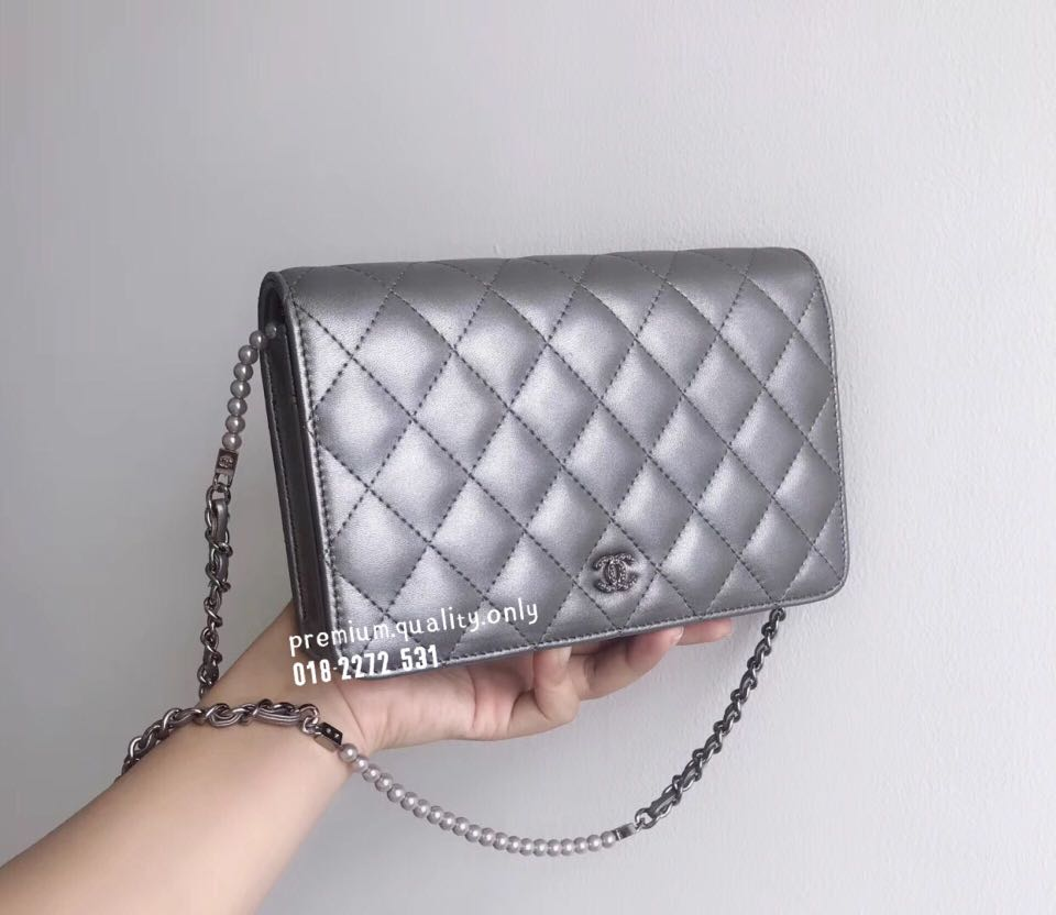 bcfb23a47590 Chanel Pearl Chain Wallet On Chain WoC In Silver, Luxury, Bags ...