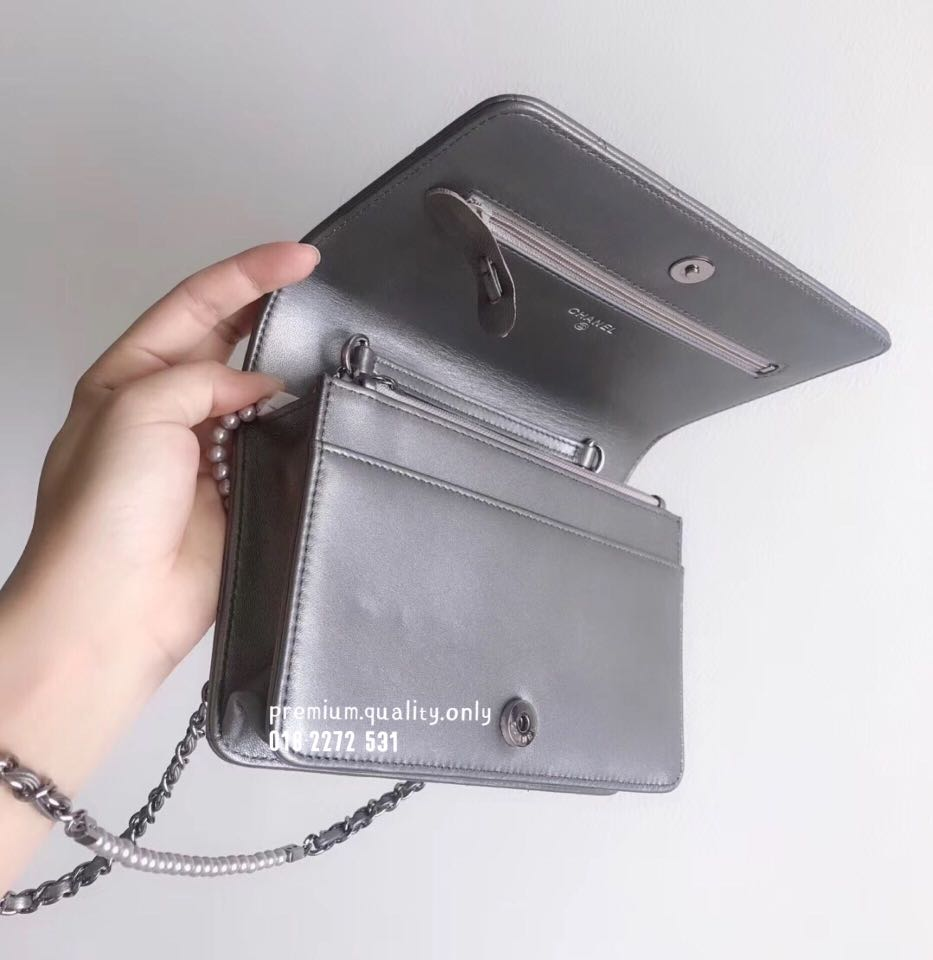 a087800ad8c0 Chanel Pearl Chain Wallet On Chain WoC In Silver, Luxury, Bags & Wallets on  Carousell