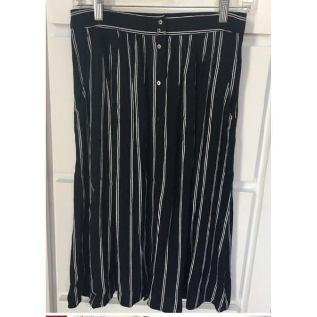 Forever 21 Striped Button-Up Midi Skirt